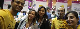 Five members of GetBoarded Technologies team from Portugal posing to a photo
