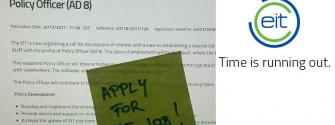 Time is running out policy officer job EIT