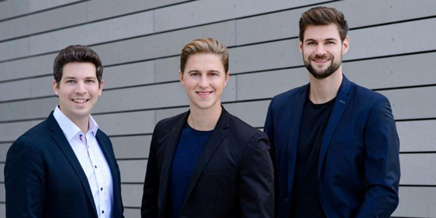Three men on the picture. KONUX Founders: Dennis Humhal, Andreas Kunze, Max Hasler