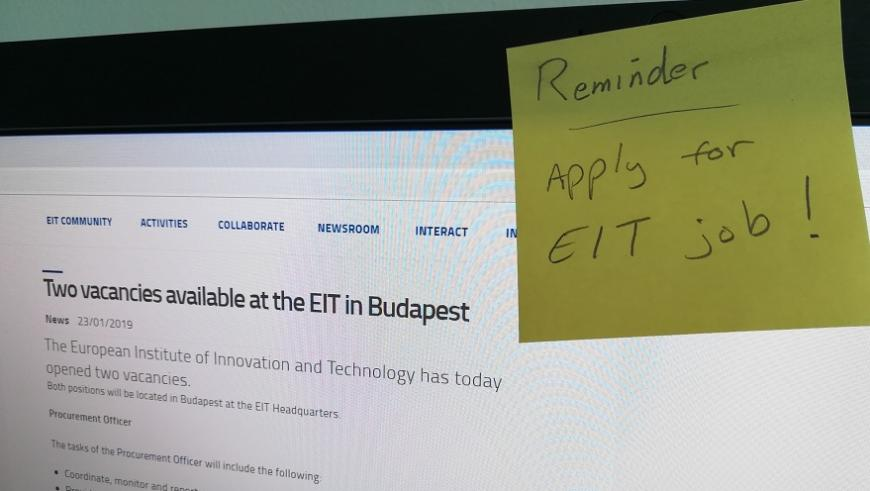 Two vacancies EIT January 2019
